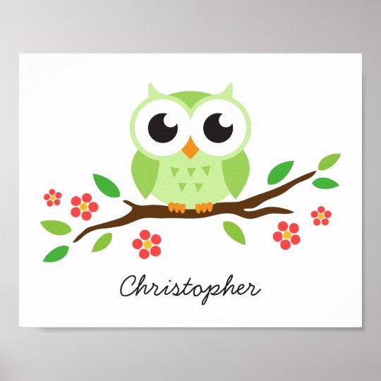 Cute owl personalised nursery wall art for kids
