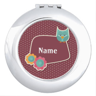 Cute Owl Personalized Compact Mirror