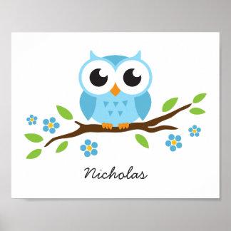 Cute owl personalized nursery wall art for boys