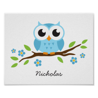 Cute owl personalized nursery wall art for boys poster