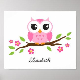 Cute owl personalized nursery wall art for girls