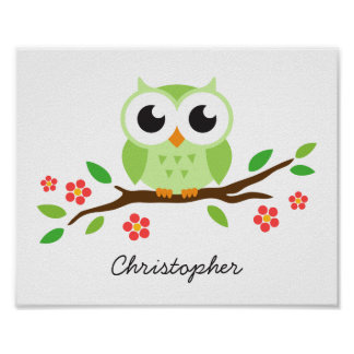 Cute owl personalized nursery wall art for kids posters