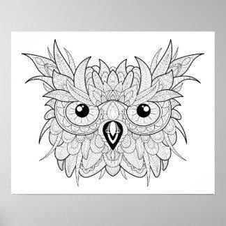 Cute Owl Portrait Doodle 2 Poster