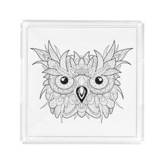 Cute Owl Portrait Doodle Acrylic Tray