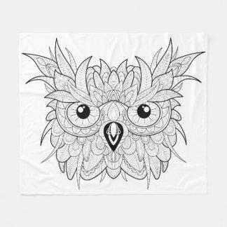Cute Owl Portrait Doodle Fleece Blanket