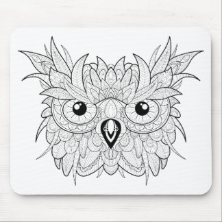 Cute Owl Portrait Doodle Mouse Mat