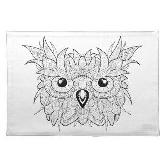 Cute Owl Portrait Doodle Placemat