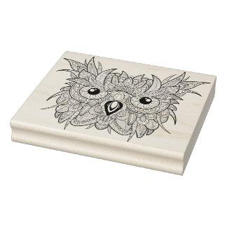 Cute Owl Portrait Doodle Rubber Stamp