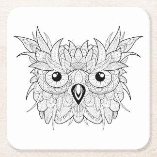 Cute Owl Portrait Doodle Square Paper Coaster