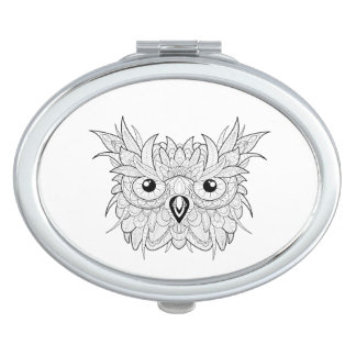 Cute Owl Portrait Doodle Vanity Mirror