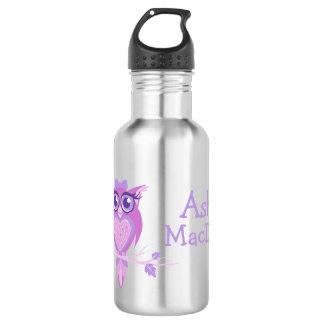 Cute owl purple kids drinks bottle