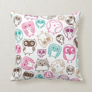 Cute owl retro pattern birds design cushion