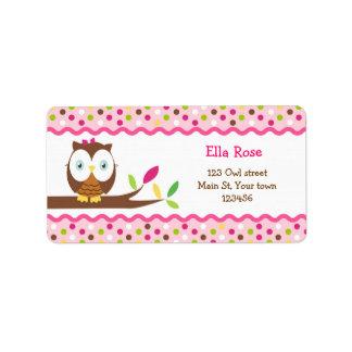 Cute Owl Return Address Labels