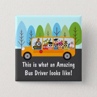 Cute Owl School Bus Driver 15 Cm Square Badge