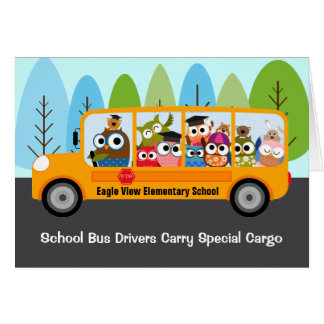Cute Owl School Bus Driver Appreciation Thank You Greeting Card