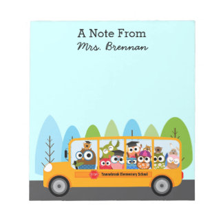 Cute Owl School Bus Driver Notepad