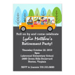 Cute Owl School Bus Driver Retirement Party 11 Cm X 16 Cm Invitation Card