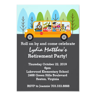 Cute Owl School Bus Driver Retirement Party 11 Cm X 16 Cm Invitation Card