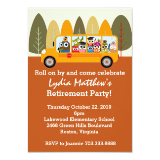 Cute Owl School Bus Driver Retirement Party Card