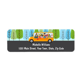 Cute Owl School Bus Driver Return Address Label