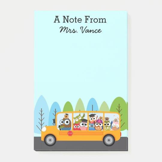 Cute Owl School Bus Driver Teacher Post-it Notes