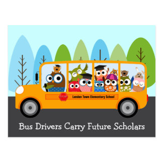 Cute Owl School Bus Driver Thank You Postcard