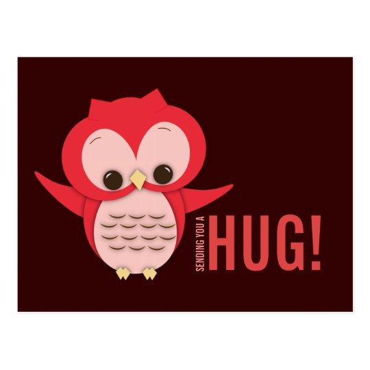 Cute Owl Sending a Hug Postcard