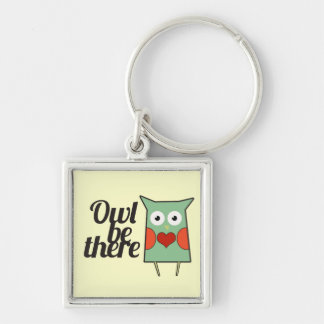 Cute Owl Silver-Colored Square Key Ring