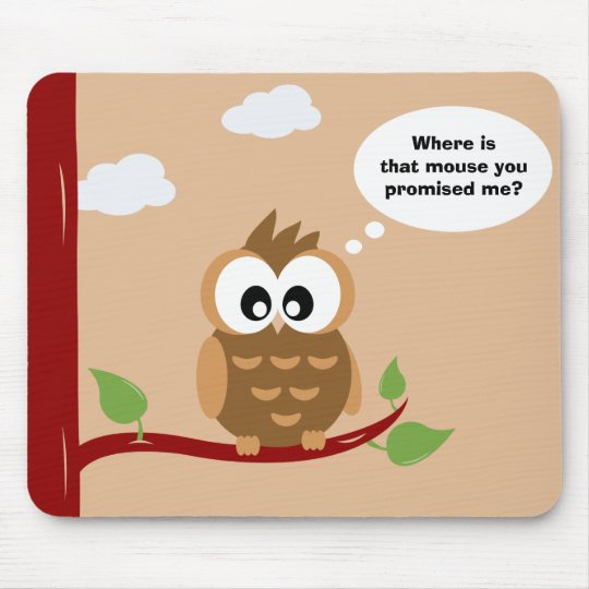 Cute Owl sitting in a Tree Mouse Mat