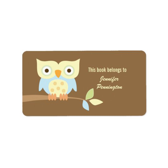 Cute owl sitting on branch bookplate labels