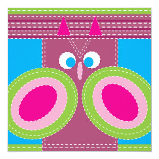 Cute Owl Stitched Look Whimsical Bird 13 Cm X 13 Cm Square Invitation Card