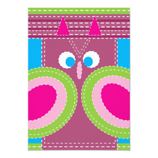 Cute Owl Stitched Look Whimsical Bird 13 Cm X 18 Cm Invitation Card