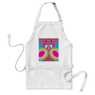 Cute Owl Stitched Look Whimsical Bird Apron
