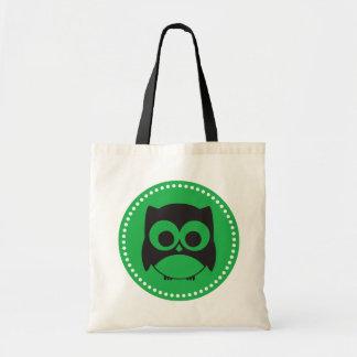 Cute Owl Tote Bag Apple Green