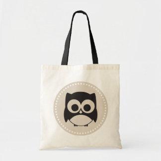 Cute Owl Tote Bag Black Beige
