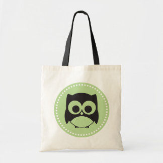 Cute Owl Tote Bag Light Green