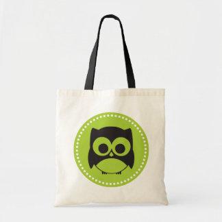 Cute Owl Tote Bag Lime Green