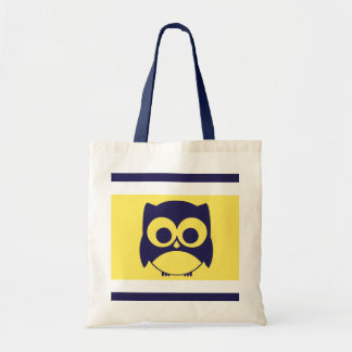 Cute Owl Tote Bag Navy Blue Yellow