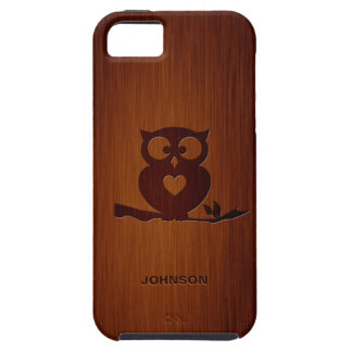 Cute Owl Tree with Custom Name & Luxury Rosewood iPhone 5 Cover