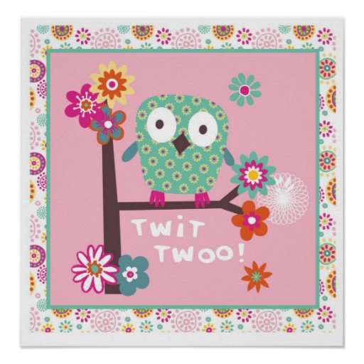 cute owl wall poster