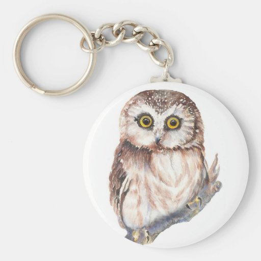 Cute Owl ,Watercolor Bird Nature, Key Chain