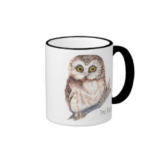 Cute Owl ,Watercolor Bird Nature, Ringer Mug