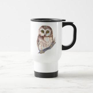 Cute Owl - Watercolor Bird, Nature, Wildlife Travel Mug