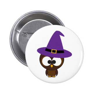 Cute Owl Witch Buttons