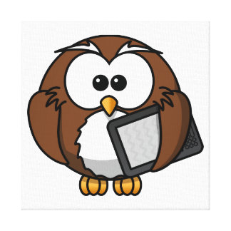 Cute Owl with Ereader Tablet Stretched Canvas Print