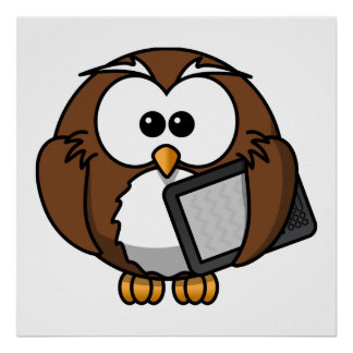 Cute Owl with Ereader Tablet Print