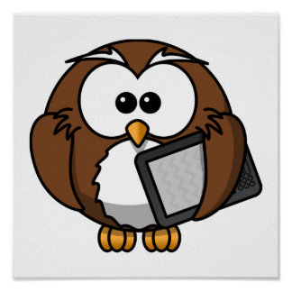 Cute Owl with Ereader Tablet Posters