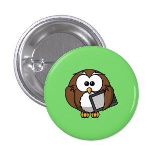 Cute Owl with Ereader Tablet with Green Background Buttons
