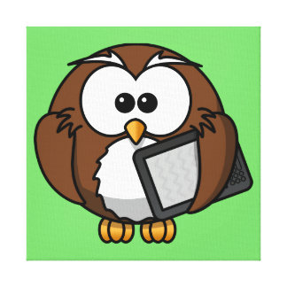 Cute Owl with Ereader Tablet with Green Background Gallery Wrapped Canvas
