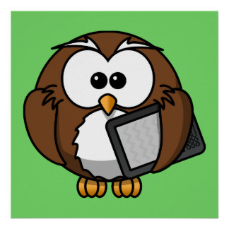 Cute Owl with Ereader Tablet with Green Background Poster